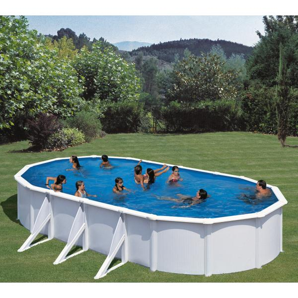 Swimmingpool hvid oval k b din nye swimmingpool hvid for Pool plastik