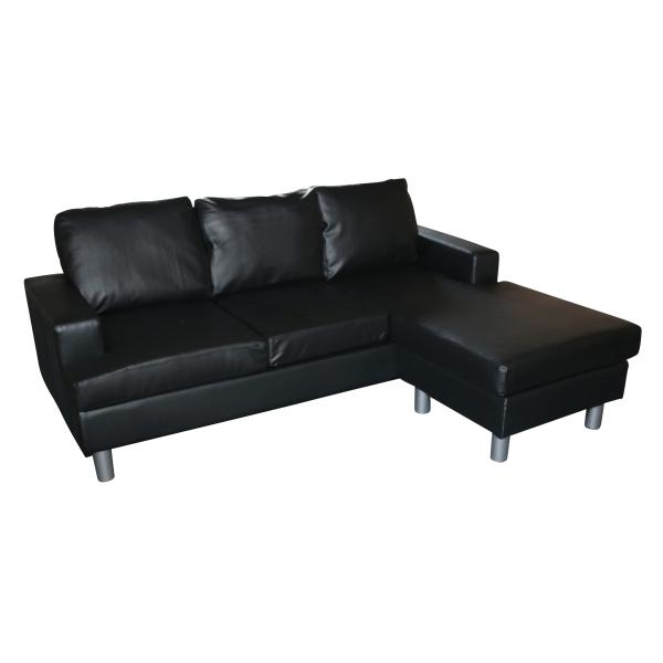 Boston chaiselong sofa sort kunstlæder sofa