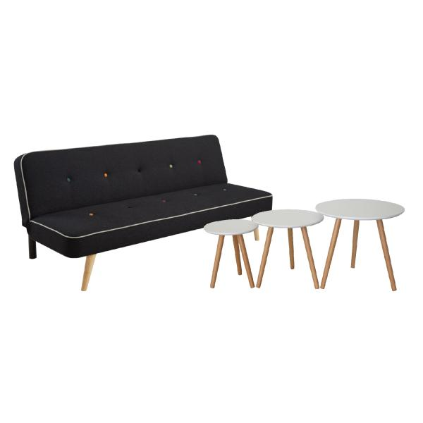 Chicago sofa + Barcelona sofabordssæt sort/hvid sofa
