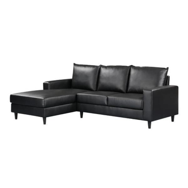 Lyon chaiselong sofa venstre sort PU sofa