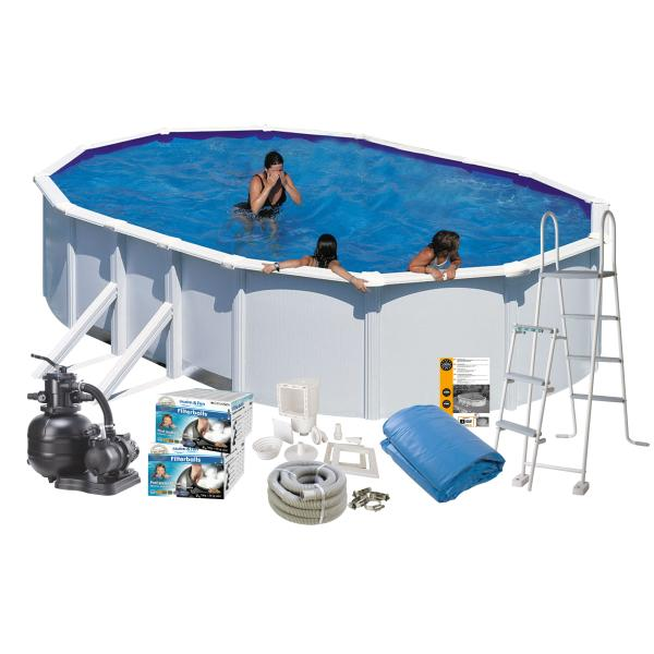 Swim & Fun Pool Basic hvid 7,3x3,75x1,2m badebassin