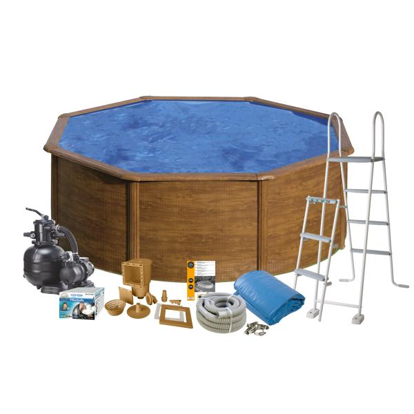 Swim & Fun Pool Basic trælook ø3,5x1,2m badebassin