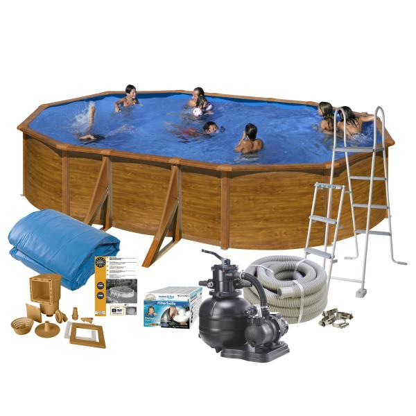 Swim & Fun Pool Basic trælook 5x3x1,2m badebassin