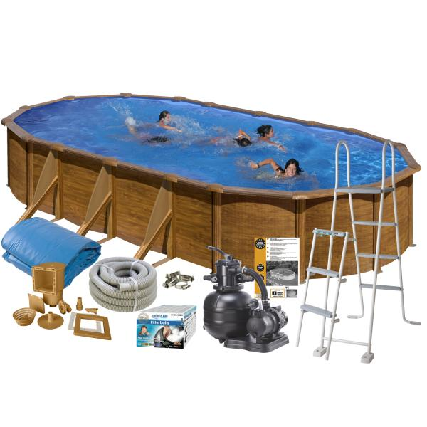 Swim & Fun Pool Basic trælook 6,1x3,75x1,2m badebassin