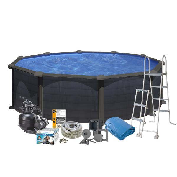 Swim & Fun Pool Basic sort ø4,6x1,2m badebassin