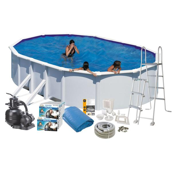 Swim & Fun Pool Basic hvid 7,3x3,75x1,32m badebassin