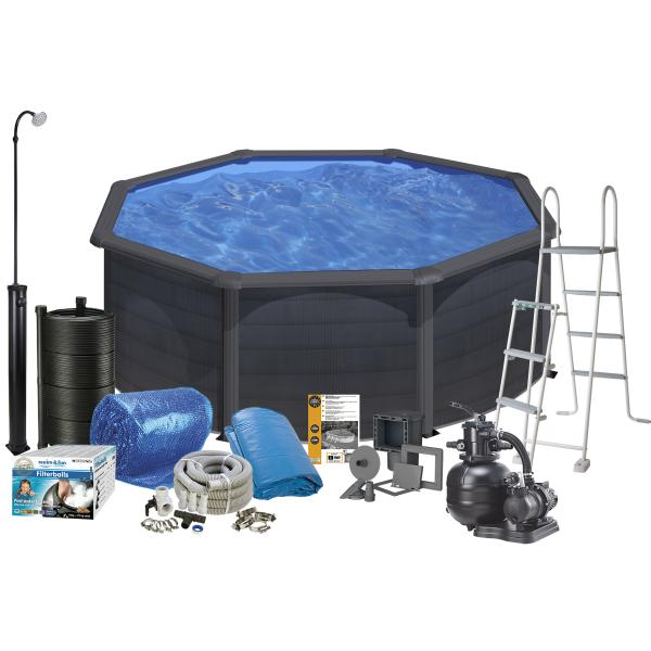 Swim & Fun Pool Solar sort ø3,5x1,2m badebassin