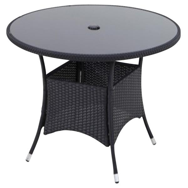 Rundt bord i polyrattan, sort , køb din nye rundt bord i ...