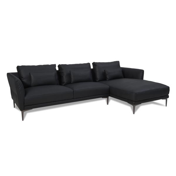 Baron chaiselong sort højrevendt sofa